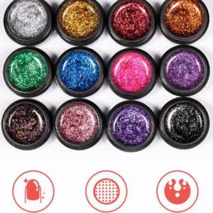 Lace shiny glitter UV LED gel nail polish 5ml 12färger