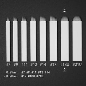 Microblading #18U Blad En allround nål som fungerar både till nytt set och att fylla i luckor. Blir fina linjer med denna.