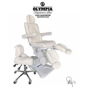 Behandlingsstol Olympia i Royal vit med sadelstol