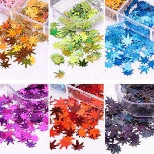12 bottles Maple leaf nail decoration