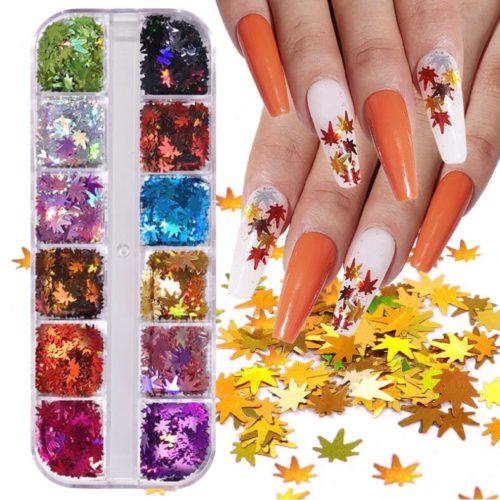12 bottles Maple leaf nail decoration on nails