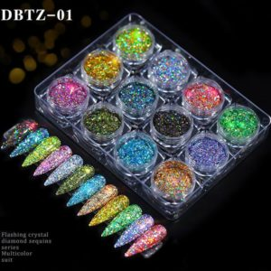 12st Nail Glitter Pulver Flake Superglänsande DBTZ01