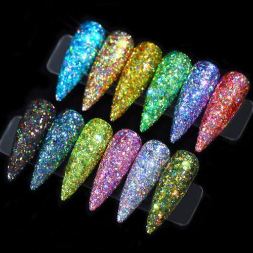12st Nail Glitter Pulver Dust Superglänsande LP001