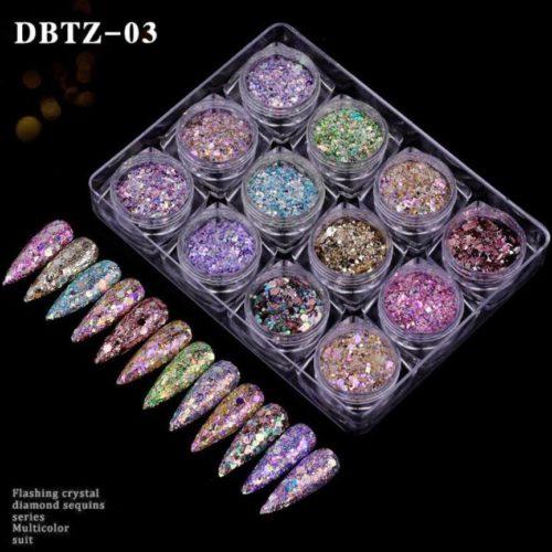 12colors set shiny fakes glitter nail art DBTZ 03