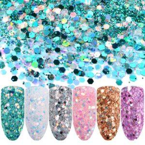 Färgglada Glitter Pulver flakes för nagelkonst art 6st/pack