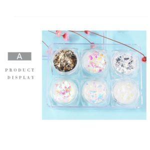 Mermaid Flake 3D Glass Glitter Nail Decoration 6pack