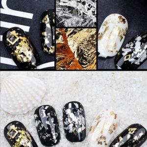 Aluminum Foil Gold Silver set nail art