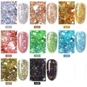 Diamond UV glitter nail gel