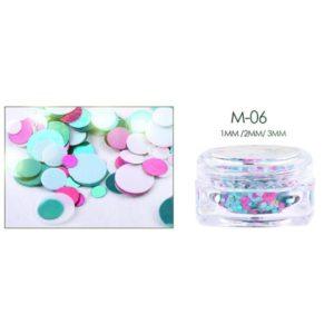 Round shiny glamorous flakes nail art